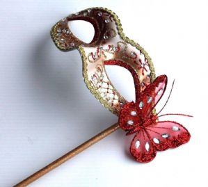 Red and Gold Masquerade Mask  - Mask on a Stick | Masks and Tiaras